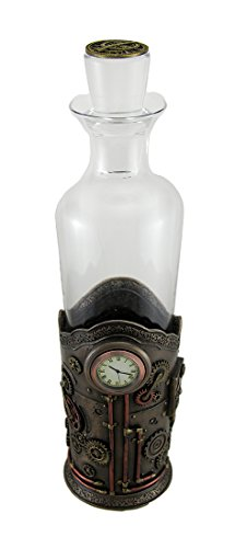 Resin And Glass Liquor Decanters Time For Spirits Glass Spirit Decanter In Steampunk Basket With Clock 5 X 13.5 X 3.5 Inches Bronze Model # WU77010A4