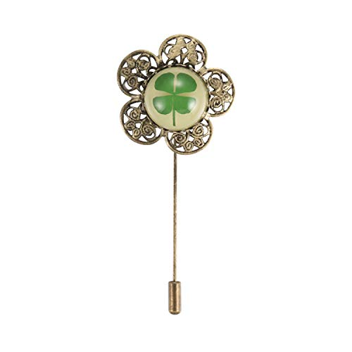 FM FM42 Glow in the Dark Background Dried Leaves Real Lucky 4-Leaf Clover Round Dome Lapel Brooch Pin CP1910