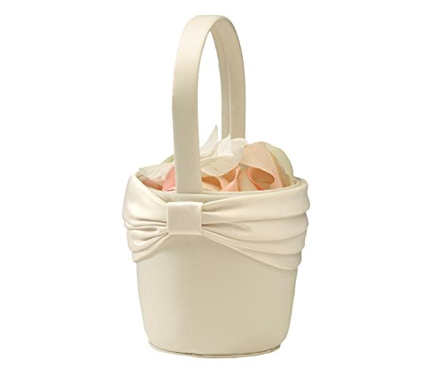(Lillian Rose Simple Satin Wedding Flower Girl Basket Ivory)
