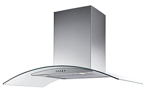 Campana de Cocina IHD Modelo T20094 de 90 cms en Acero Inoxidable con Cristal Curvo y Ducto Extraible; de Diseño Innovador y...
