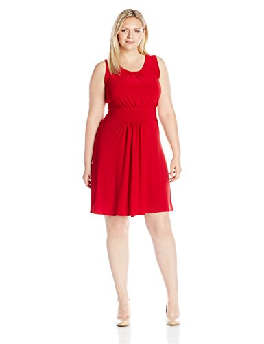 Dress Shirred Knit (Star Vixen Women's Plus Size Sleeveless Banded Skater Waist Shirred Bodice and Shirred Skirt Short Ity Knit Dress, Red, 2X)