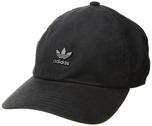 adidas Originals Men's Relaxed Metal Strapback Cap, Black/Black, ONE SIZE (Mens Strapback Hats)