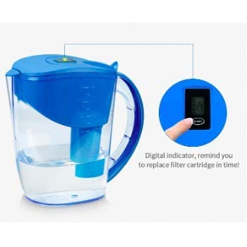 Alkaline pH PLUS BLUE ionized Water PITCHER, 3.5 L By WellBlue, 3 Filters (6 Month Supply).