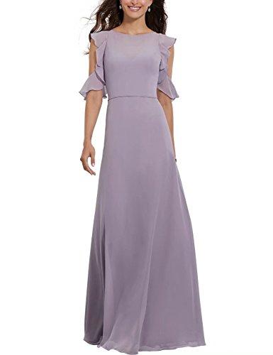 Ainidress Robe De Demoiselle D'honneur En Mousseline De Soie Avec Soirée Parole Longueur Manches Volantée Violet Robe De Soirée