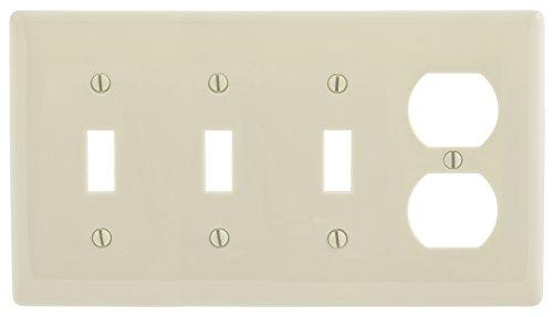 Bryant Electric NP38LA 4-Gang 3-Toggle, 1-Duplex, Standard Size Nylon Wallplate, Light Almond