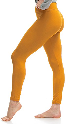 LMB Lush Moda Women's Basic Leggings with Yoga Waist- Extra Soft and Variety of Colors - Mustard ()