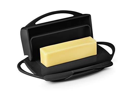 Butterie Flip-Top Butter Dish with Matching Spreader (Black) Black Flip Top Lids