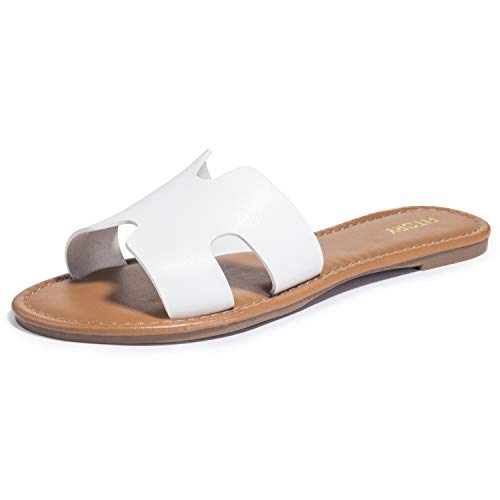 FITORY Womens Flat Sandals Slides Open Toe Slip On Shoes for Summer White Size 8