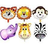 JUNGLE SAFARI ANIMALS BALLOONS - 6pcs 22 Inch Giant Zoo Animal Balloons Kit For Jungle Safari Animals Theme Birthday Party Decorations ()