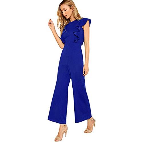 (Toimothcn Women's Sleeveless Wide Leg Jumpsuit-Bandage/Off Shoulder/Spaghetti Strap Long Pant Jumpsuit Rompers (Blue3,XL))