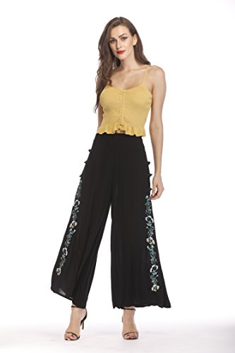 Yinglizi Women's Casual Elastic Waist Band Adjustable Wide Leg Pants Free Size (Black)