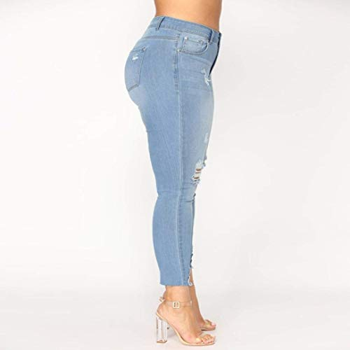 Pantalones Para De Grandes Ripped Fit Cintura Slim Rasgado Stretch Mujeres Claro Tallas Jeans Azul Skinny Denim Alta Mujer Ropa Venmo qwvg64qx
