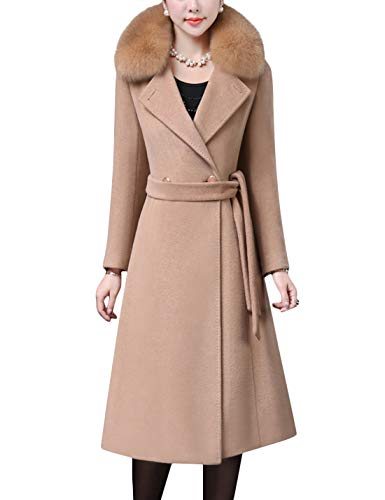 Tanming Women's Fox Fur Collar Notch Lapel Double Breasted Wool Blend Pea Coat (Camel, Small) (Fur Coat Collar Notched)