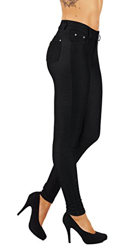 5StarsLine Women's Jean Look Jeggings Tights Slim Fit Pull Up Pants Solid Colors Full Length and Capri Casual Leggings (M USA 6-8, 5S01-L-BLK) 6 Pocket Capris