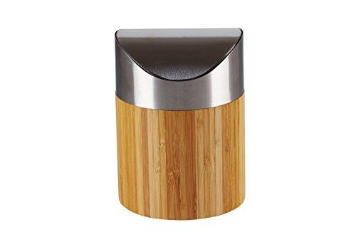 Tischabfalleimer Abfallbehälter Kosmetikeimer aus Bambus mit Schwingdeckel