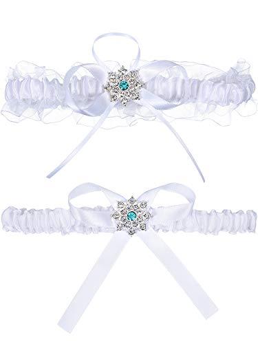 2 Pieces Bridal Garter Wedding Lace Garter Stretch Bow Garter with Rhinestone Ribbon Garter for Wedding Supplies White ()