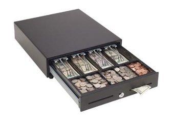 MMF MMFVAL1416E04 VAL-u Line Cash Drawer 14 Inch x 16 Inch 4B5C Till Printer-Driven 2 Slots Black