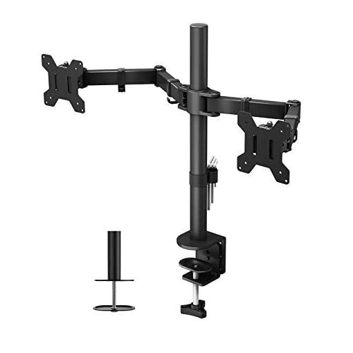 BONTEC Double Arm Stand Desk Mount Ergonomic for 13″-27″ TV LCD Monitor Computer PC Screen Bracket Dual Tilt +90°/-90°   Swivel 180°   Rotate 360°   VESA Dimensions: 75×75-100×100
