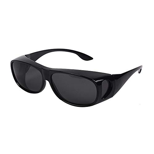 HD Night Day Vision Driving Wrap Around Anti Glare Sunglasses with Polarized Lens for Man and Women (Black Lens+ Bright black ()