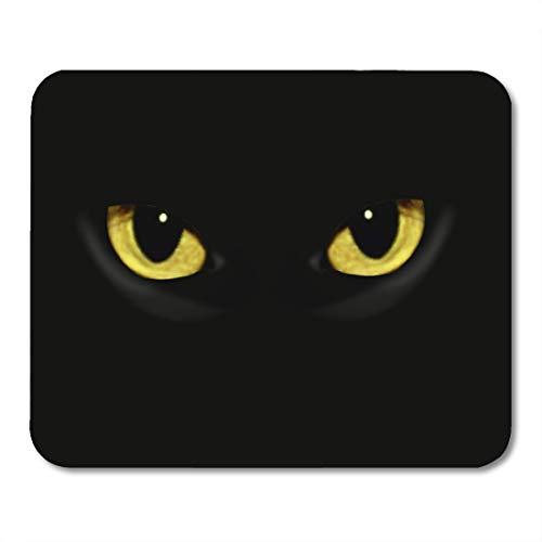 Emvency Mouse Pads Yellow Panther Cat Eyes in Dark Night Green Black Animal Halloween Mouse pad 9.5