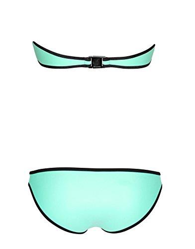 SOTW Luxury Zip-up Bright Diving Suit Neoprene 2 Piece Bikini Set Swimsuit Swimwear, Miami Mint, L
