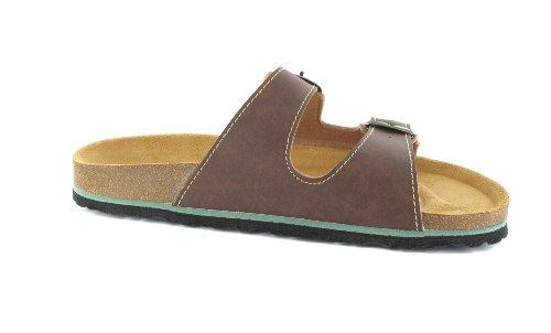 Bioped Unisex Pantoletten - Ibiza- Dunkelbraun Schuhe in Übergrößen