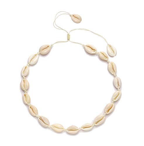 HSWE Cowrie Shell Choker Necklace for Women Sea Shell Necklace for Men Boy Adjustable Bib Collar Gilded Beaded Cord Rope Hemp Necklace Handmade Hawaiian Beach Summer Jewelry (White#3)