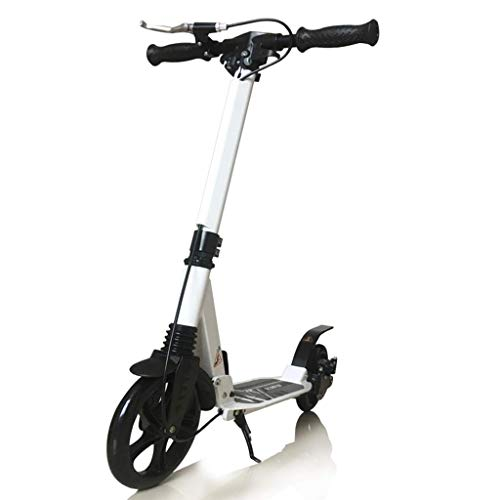 JSZHBC Children's Scooter Two Round Big Wheel Folding 6-18 Years Old Teenagers Boys and Girls School (Color : White)