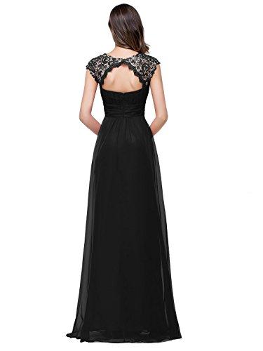 Babyonlinedress - Vestido largo de noche con escote en la espalda negro