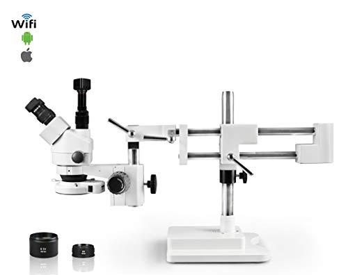 Vision Scientific Trinocular Zoom Stereo Microscope, 10x Widefield Eyepiece, 0.7X-4.5X Zoom Range, 7X-45x Magnification Range, Double Arm Boom Stand 5MP WiFi Digital Camera
