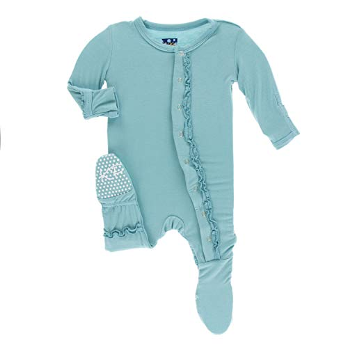 Glacier Fleece Pant - Kickee Pants Little Girls Solid Muffin Ruffle Footie with Snaps - Glacier, 12-18 Months