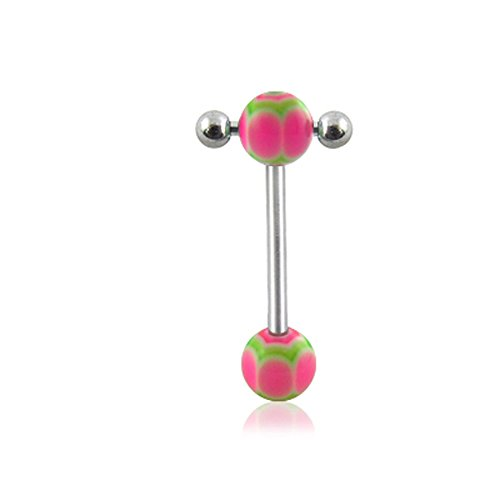 14Gx3/4(1.6x19mm) 316L Surgical Steel Straight Barbell with 6/6MM UV Spider's Web Ball and Small Barbell with Ball Moving in Side Tongue Piercing Rings