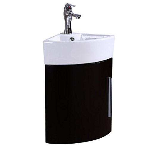 Black Corner Wall Mount Bathroom Cabinet Vanity Sink With Faucet And Drain Combo White Vessel Bowl Hardware Included Space Saving Design