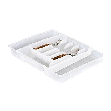 Balvi - Bandeja de cubiertos extensible plástico blanco: Amazon.es: Hogar