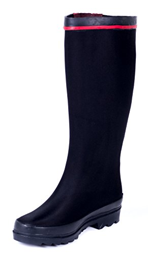 Forever Young Couture Women Rubber Black Scuba Rain Boots 10 US