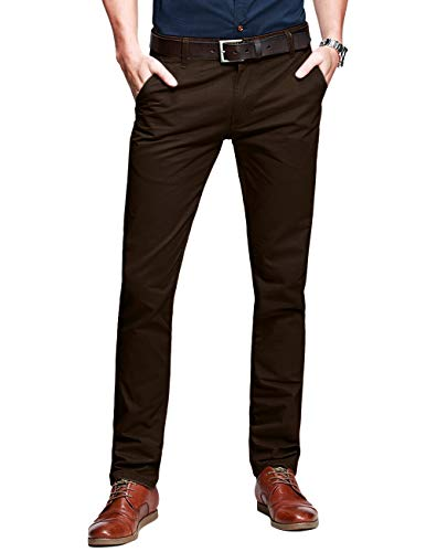 Match Mens Slim-Tapered Flat-Front Casual Pants(sandybrown,29)
