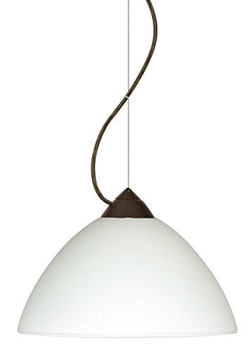 Besa Lighting 1KX-420107-LED-BR 1X6W GU24 Tessa LED Pendant with White Glass, Bronze Finish