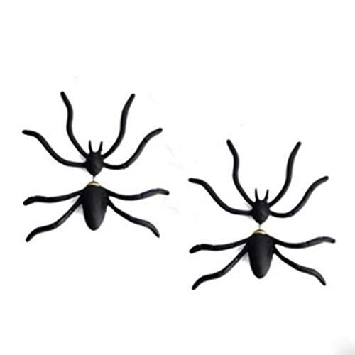 GoFunGo Halloween Earrings 3D Black Spider Punk Stud Earring for Halloween Party and Costume,Set of -