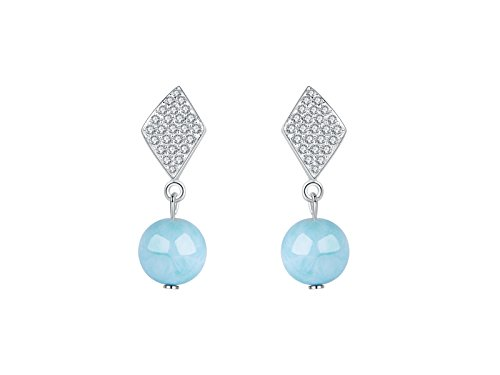 Sterling Silver Larimar Drop Earring Natural Genuine Round Cut Gemstones Hand Made Blue Fashion Larimar Jewelry for Women and Girl