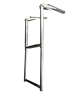 Pactrade Marine Boat Stainless Steel 2 Steps Telescoping Ladder and Sliding Under Platform