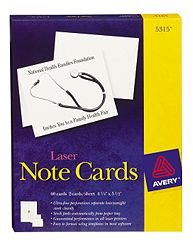 Avery Laser Note Cards 5315 50 Cards ()