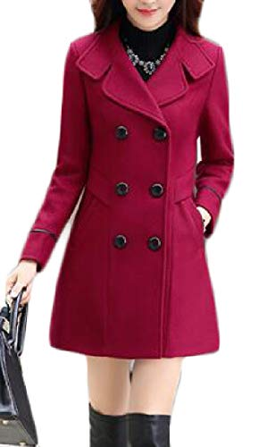(AngelSpace Women Fall Winter Smocked Waist Plus Size Trench Jacket Coat Wine Red M)