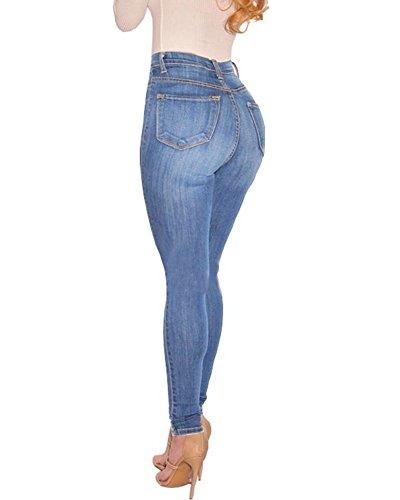 Guiran Leggings Vita Stretch Alta Pantaloni Jeans Skinny Up Azzurro Donna Push Boyfriend 6qwO6Trxn