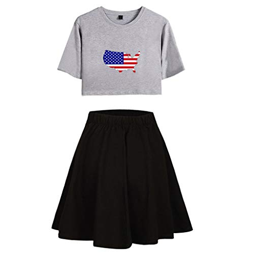 Sunhusing Women Round Neck Short-Sleeve Stars Striped Flag Printed Tops+Solid Color Waist Skirt Two-Piece Suit Dark Gray
