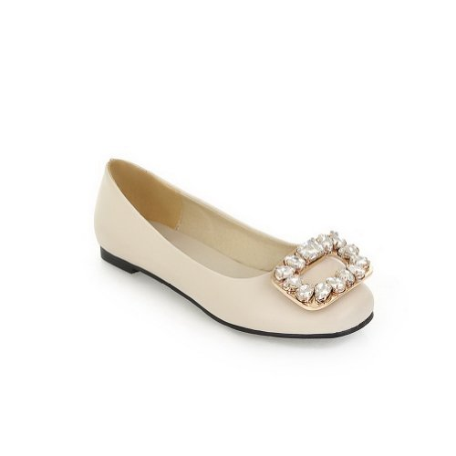 VogueZone009 Womens Closed Round Toe Soft Material PU Solid Flats with Glass Diamond, Beige, 6.5 UK