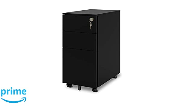 Amazon.com : DEVAISE 3 Drawer Metal File Cabinet With Lock, Mobile Pedestal  In Black : Office Products