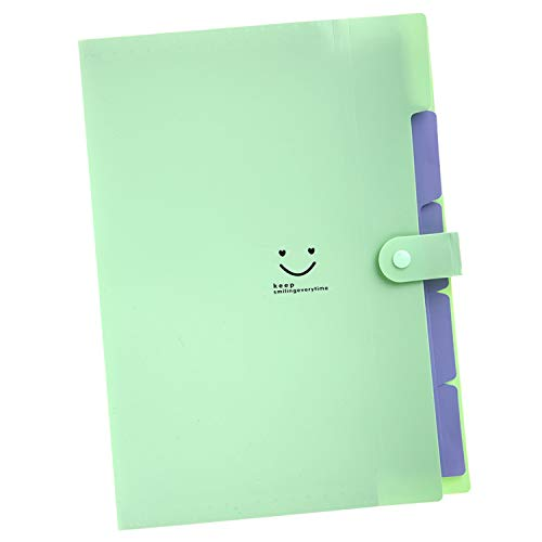 5 Pockets Expanding File Folders | Accordion Document & Paperwork Organizer, School & Office Supplies | A4 Letter Size, Button Closure |Storage Solution for Business, Home, Classroom (Light Green)