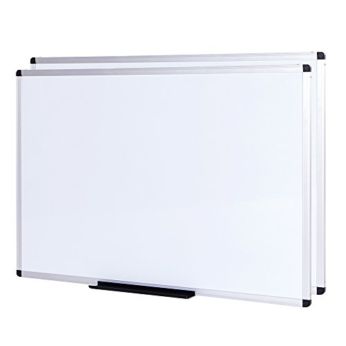 VIZ-PRO Dry Erase Board/Whiteboard, Non-Magnetic, 2 Pack, 5' x 3', Wall Mounted Board for School Office and Home