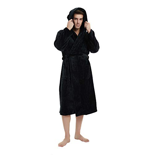 Mens Black Robe (U2SKIIN Mens Fleece Hooded Robe Plush Bathrobe (Black,)