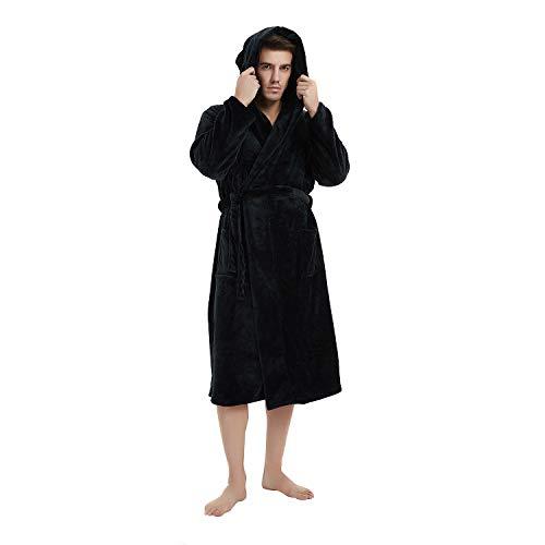 U2SKIIN Mens Fleece Hooded Robe Plush Bathrobe (Black, L/XL) -